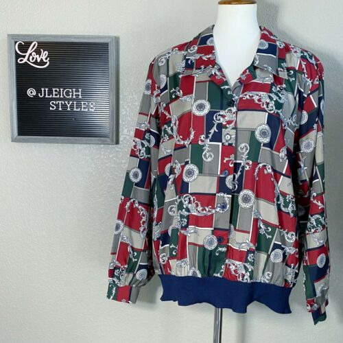 Vintage 80's Red Blue Baroque Print Popover Button