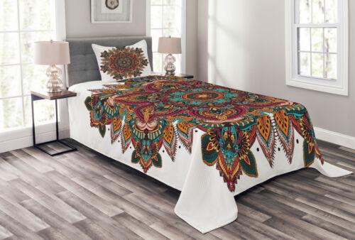 Ethnic Asian Pattern Print Mandala Quilted Bedspread /& Pillow Shams Set