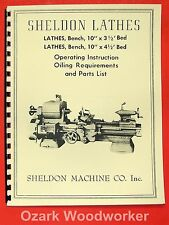"SHELDON Old 10"" Metal Lathe Operator's & Parts List Manual 0832"