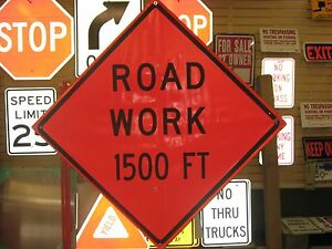 """Road Work 500 ft Fluorescent Vinyl With Ribs Road Sign 48/"""" X 48/"""""""