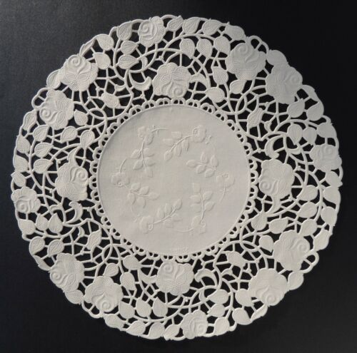 """100-8/"""" Off White ROSE FLORAL Lace Paper DoiliesWhite Paper Lace Doily"""