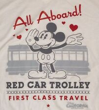 WOMENS DISNEY PARKS MICKEY MOUSE ALL ABOARD RED TROLLEY CAR SHIRT CALIFORNIA 2XL