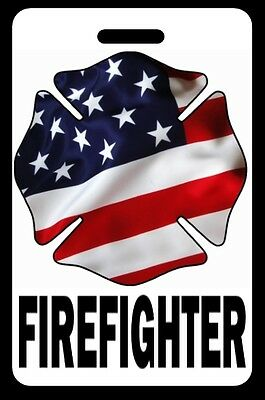 FREE Personalization Firefighter USA Flag Maltese Cross Luggage//Gear Bag Tag