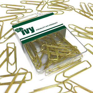Ivy-Stationery-45mm-Large-Brassed-Paper-Clips-Plastic-box-of-50