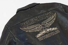Harley Davidson Men Military SQUADRON Black Leather Bomber Jacket 97082-09VM 2XL