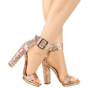 229a96a0a876 New Encrusted Sparkling Glitter Open Toe Wide Ankle Strap Cuff High ...