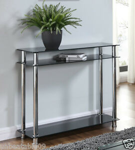 Exceptionnel Image Is Loading Black Or Clear Glass Chrome Console Table Large