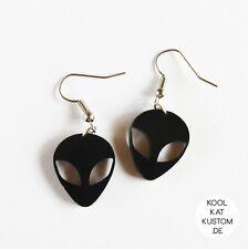 ALIEN Ohrringe earrings schwarz Acryl lasercut grunge Hipster UFO Außerirdischer