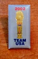 """Very Nice 1"""" Brass Enameled Olympic Torch Pin """"2002 Team USA""""  36USC 220506"""