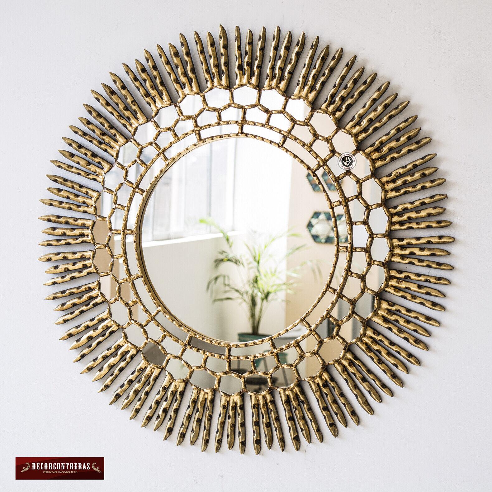 Large Decorative sunburst Mirror from Peru - Handcarved Gold Round Mirror 30