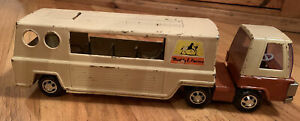 Vintage-1960-039-s-Buddy-L-Farms-Horse-Truck-Pressed-Steel-Cab-and-Trailer-Tan-Brown