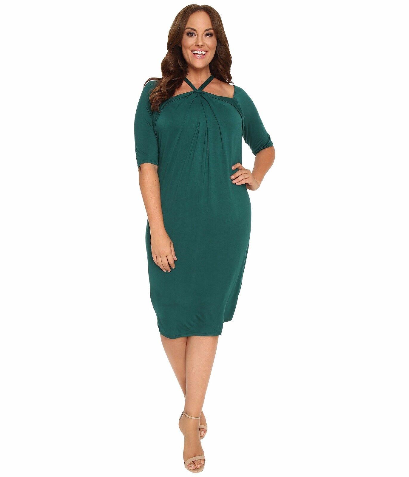 NWT Authentic Kiyonna Destination Draped Dress in Emerald Isle, 2X, 3X