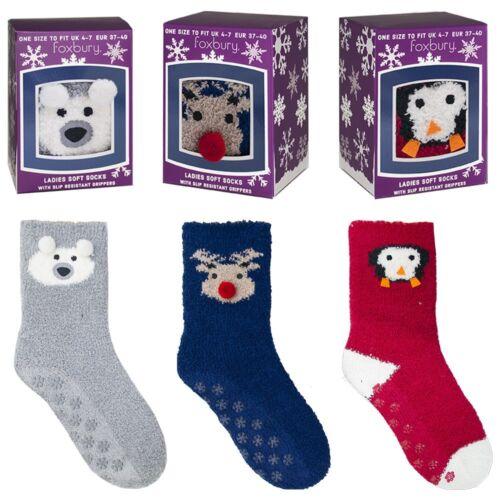 Ladies Novelty Christmas Animal Socks in Gift Box Reindeer Bear Penguin Winter