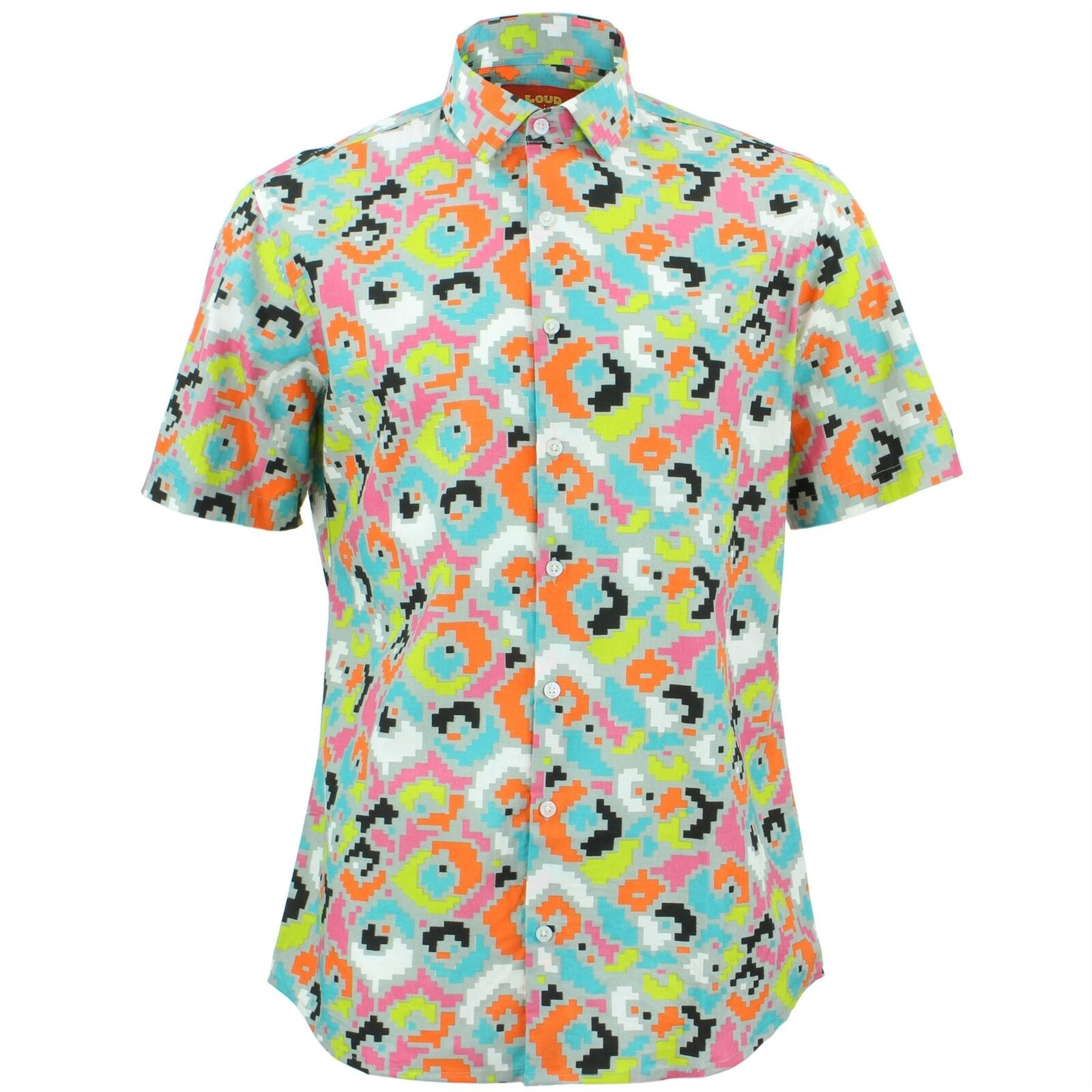 Mens Shirt Loud Originals TAILORED FIT Pixel Grey Retro Psychedelic Fancy