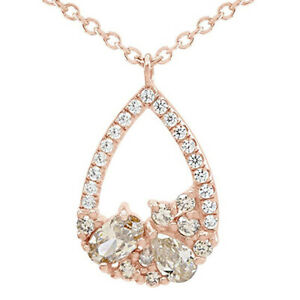 Cubic zirconia And Morganite Tear Drop Pendant Necklace 14K Rose Gold Over