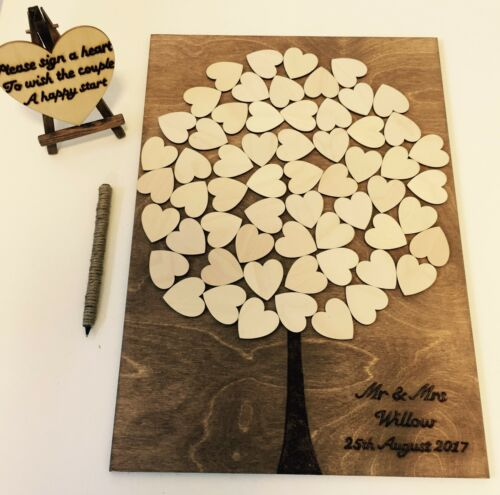 Mariage Livre d/'or Alternative personnalisé Arbre Coeurs A3 bois guestbook rustique