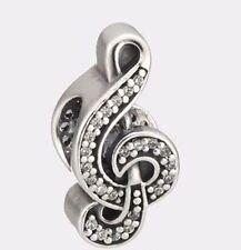 Authentic Pandora Silver Charm Bead Sweet Music Pave CZ 791381CZ