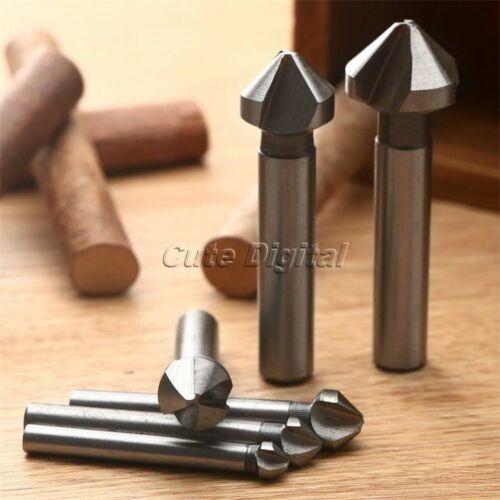 6pcs HSS 3 flûte 90 ° Fraise Chanfrein Coupeur Fraise Fraisage Drill Bits Set