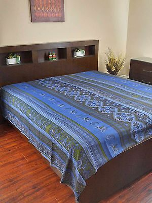 "Sunflower Print Tapestry Cotton Bedspread 104/"" x 88/"" Full Blue"