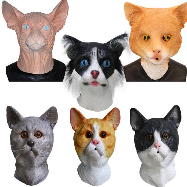 Black Cat Latex Full head Mask Cosplay Halloween Costume Animal Party dress up