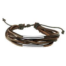 Men's Brown Leather & Steel Multi Strand Bracelet Wristband by Urban Male