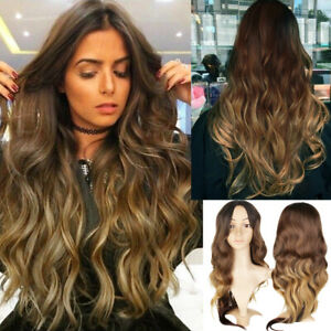 Women-Fashion-Synthetic-Hair-Lace-Front-Wig-Body-Wavy-Full-Wigs-Ombre-Blonde