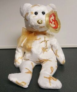 TY Beanie Baby - 2004 SIGNATURE BEAR (8.5 inch) - MWMT's Stuffed Animal Toy