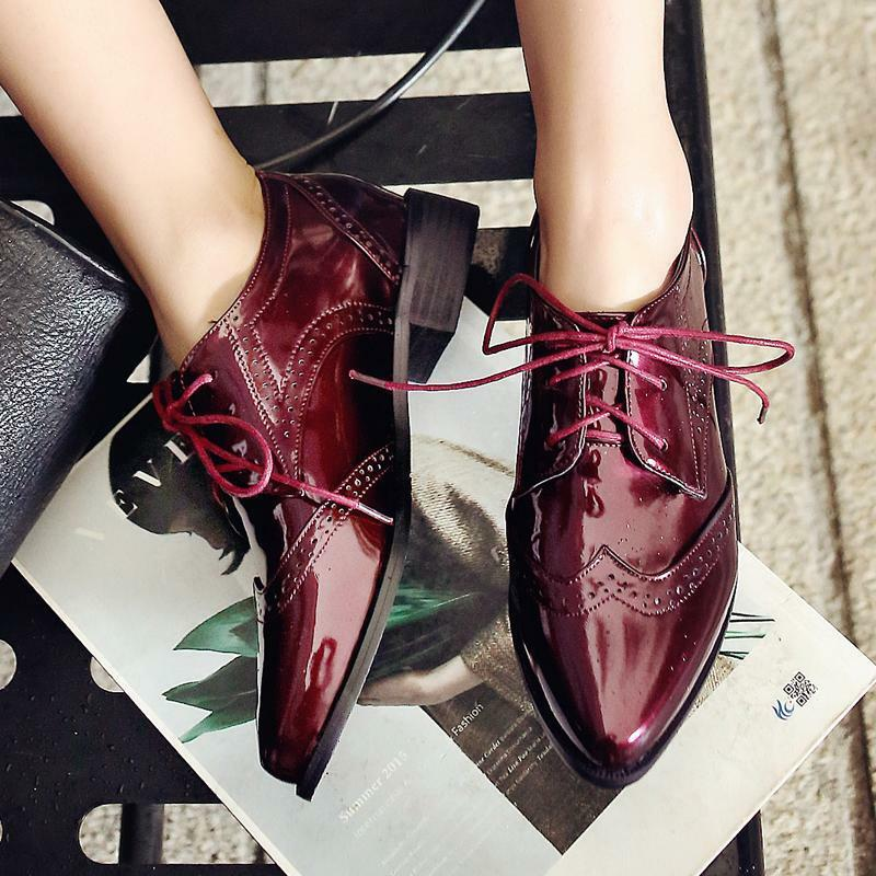 New Women Casual Pointy Toe Brogues Leather Lace Up shoes Mid Block Heel Pumps
