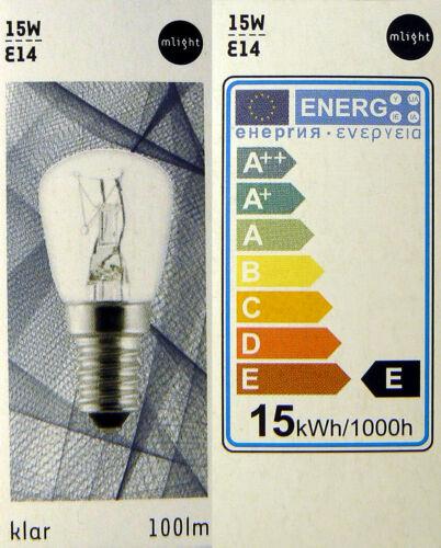 5x Glühlampe Glühbirne Lampe Birne Ersatz Kühlschrank klar E14 230V 15W 010480