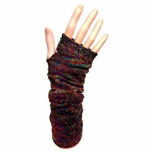 Long-Fingerless-Gloves-Rainbow-Multi-Colour-Sparkle-Flecks-70-039-s-Disco-Party