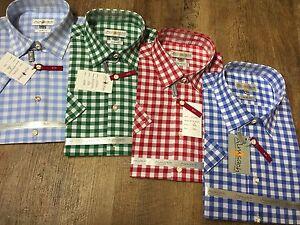 Almsach-Herren-Trachten-Hemd-Slim-Form-kurzarm-gruen-blau-rot-Gr-S-M-L-XL-Neu