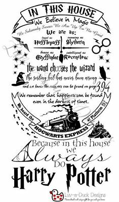 harry potter style house rules in this house hogwarts wall sticker