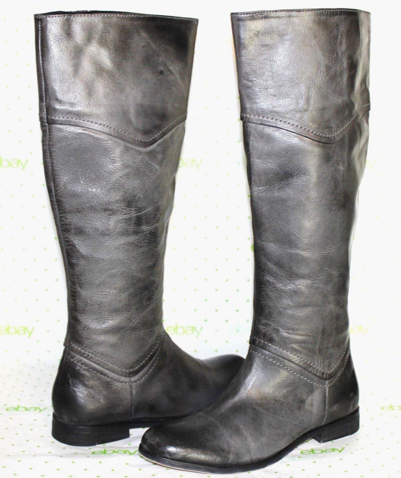 ? LUICHINY Point Tea Vintage-Gray Premium Leather Zip Boots 6 M GREAT L@@K34