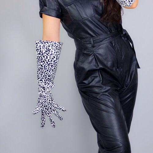 "LATEX SHORT GLOVES Shine Leather PU 6/"" 16cm Animal Print Black Cheetah Leopard"