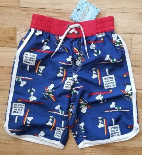 NWT Hanna Andersson BLUE PEANUTS NO DOGS SNOOPY SWIM SHORTS 100 4 and 120 6//7
