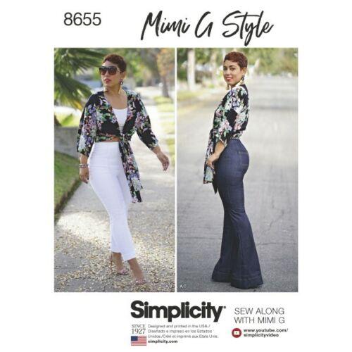 Simplicité Mimi G Pantalon Taille Haute Et Cravate Top sewing pattern 8655