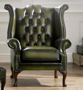 Marvelous Details About Chesterfield Scroll Buttoned High Back Wing Chair Antique Olive Green Leather Camellatalisay Diy Chair Ideas Camellatalisaycom