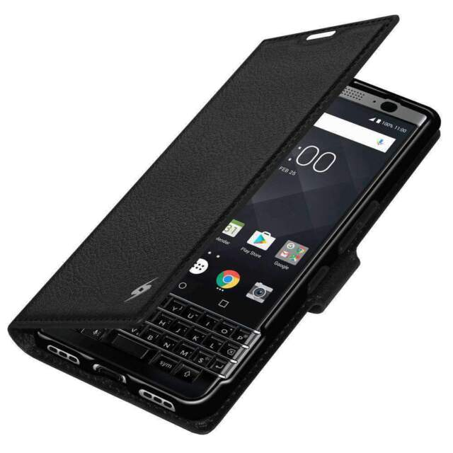 AMZER PU Leather Flip wallet Carrying Cover Case For Blackberry KEYone -  Black