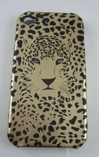 For Iphone 4g phone case bling Leopard spots cat head gold back cover