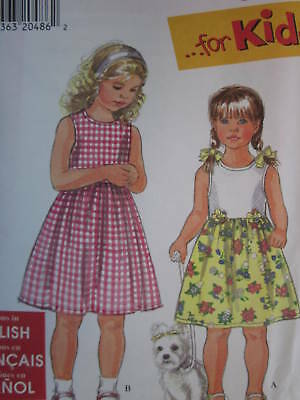 UNCUT Simplicity Vintage Sewing Pattern Girls Decorate a Sundress Jumper 7155