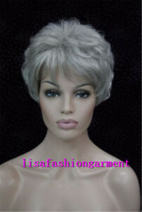 Beautiful Women s grey mix Short curly Natural Lady Hair Full Wigs ... 65432b525
