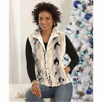 Brand Womens Monroe& Main Ivory Candace Reversible Winter Vest Size Large