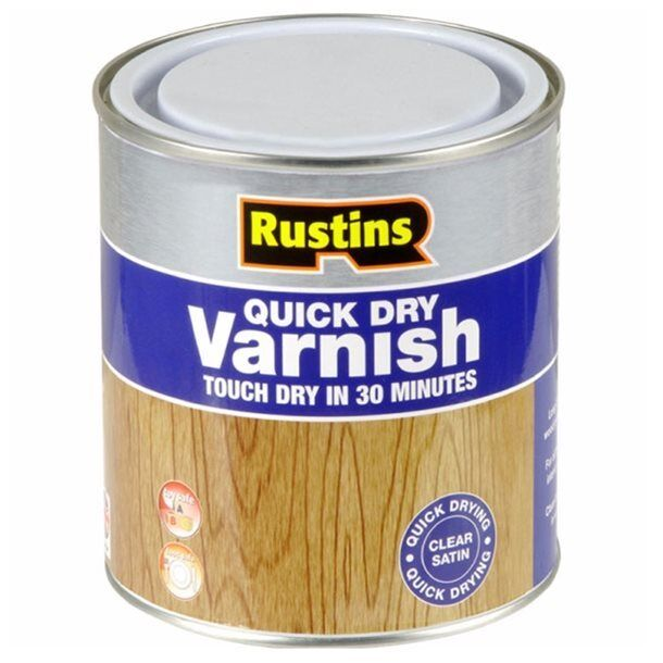 Rustins Quick Dry Varnish Satin Clear 250ml Tough & Durable Finish for Interiors