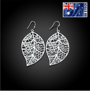 New-Wholesale-Stunning-925-Sterling-Silver-Filled-Womens-Filigree-Leaf-Earrings