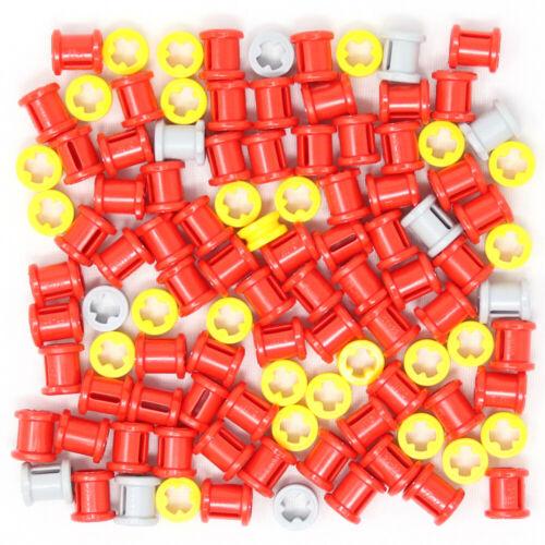 Lego 100x Genuine Technic Bushes Cross Axles Half Full Size Grey Red Yellow NEW