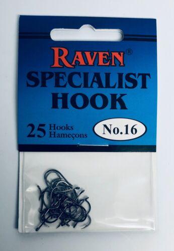 25 HOOKS PER PACK RAVEN SPECIALIST HOOKS SIZE 16