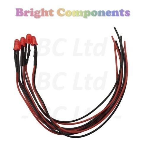 1st CLASS POST 20 x Pre-Wired Red LED 5mm Diffused 9V ~ 12V