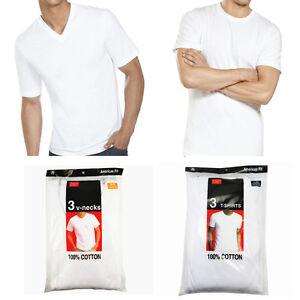 3-6-Pack-For-Mens-100-Cotton-Crew-amp-V-Neck-Tagless-T-Shirt-Undershirt-White-S-XL