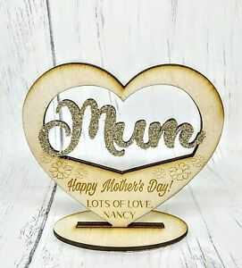 Personalised-Wooden-Stand-Plaque-Heart-Mum-Mother-039-s-Day-Gift-Birthday