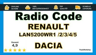 Renault Dacia Navi LAN5200WR1 LAN5800 //2//3//4//5 Radio Code Unlock Code